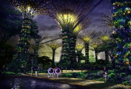Strolling At Night Under the Supertrees